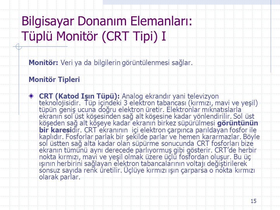 15 Bilgisayar Donanım Elemanları: Tüplü Monitör (CRT Tipi) I Monitör: Veri ya da bilgilerin görüntülenmesi sağlar. Monitör Tipleri CRT (Katod Işın Tüp