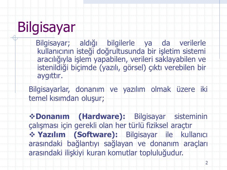 2 Bilgisayar Bilgisayar; aldığı bilgilerle ya da verilerle kullanıcının isteği doğrultusunda bir işletim sistemi aracılığıyla işlem yapabilen, veriler