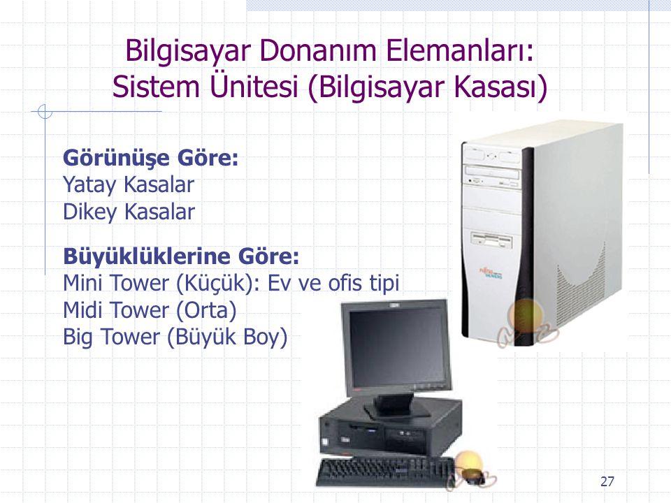 27 Bilgisayar Donanım Elemanları: Sistem Ünitesi (Bilgisayar Kasası) Görünüşe Göre: Yatay Kasalar Dikey Kasalar Büyüklüklerine Göre: Mini Tower (Küçük