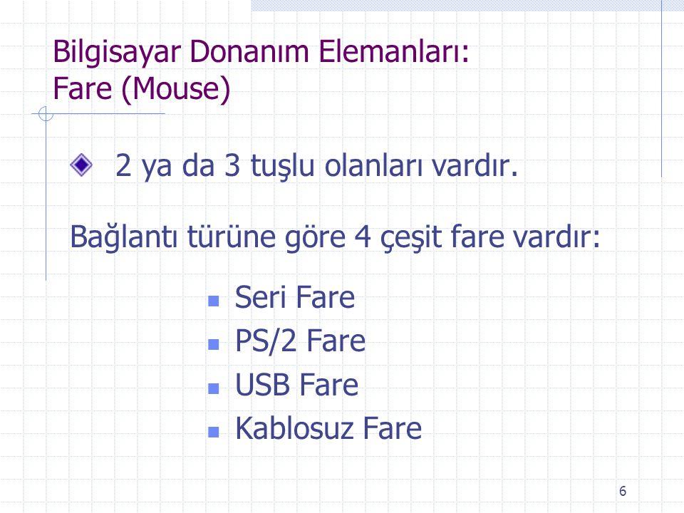 6 Bilgisayar Donanım Elemanları: Fare (Mouse) 2 ya da 3 tuşlu olanları vardır. Bağlantı türüne göre 4 çeşit fare vardır: Seri Fare PS/2 Fare USB Fare