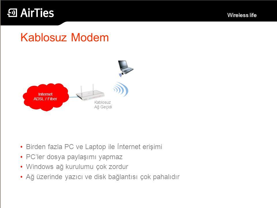 Wireless life Kablosuz Modem Internet ADSL / Fiber Kablosuz Ağ Geçidi Birden fazla PC ve Laptop ile İnternet erişimi PC'ler dosya paylaşımı yapmaz Win