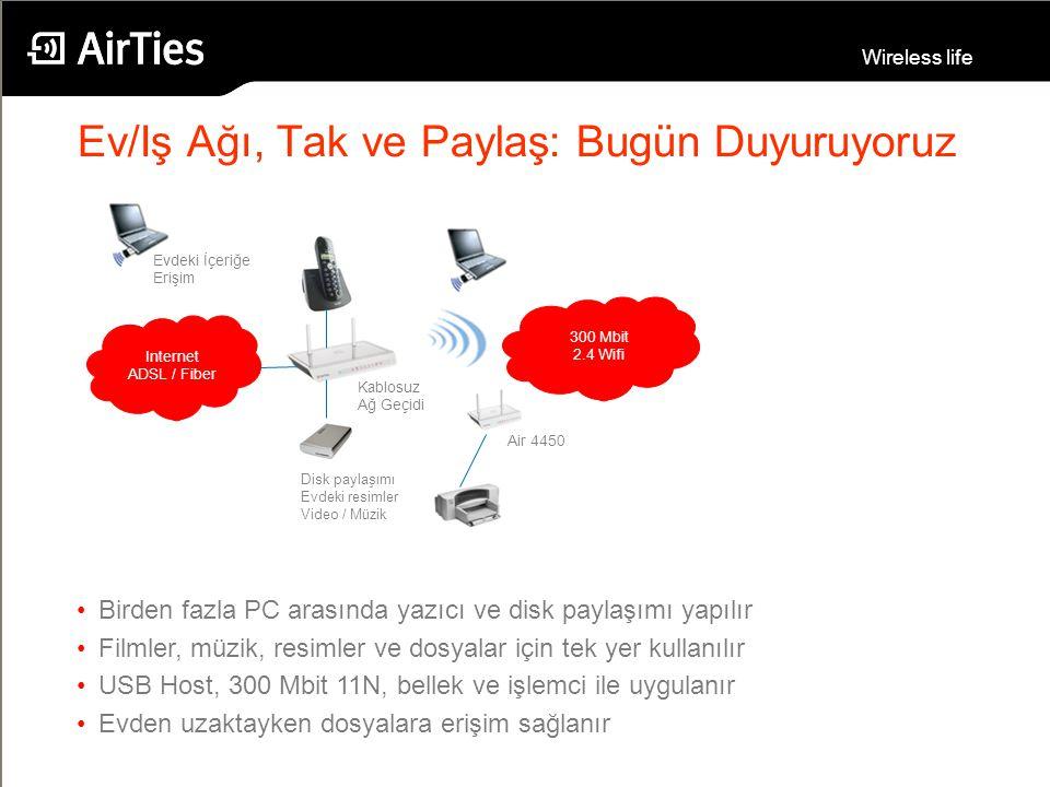 Wireless life Internet ADSL / Fiber 300 Mbit 2.4 Wifi Kablosuz Ağ Geçidi Air 4450 Disk paylaşımı Evdeki resimler Video / Müzik Evdeki İçeriğe Erişim E