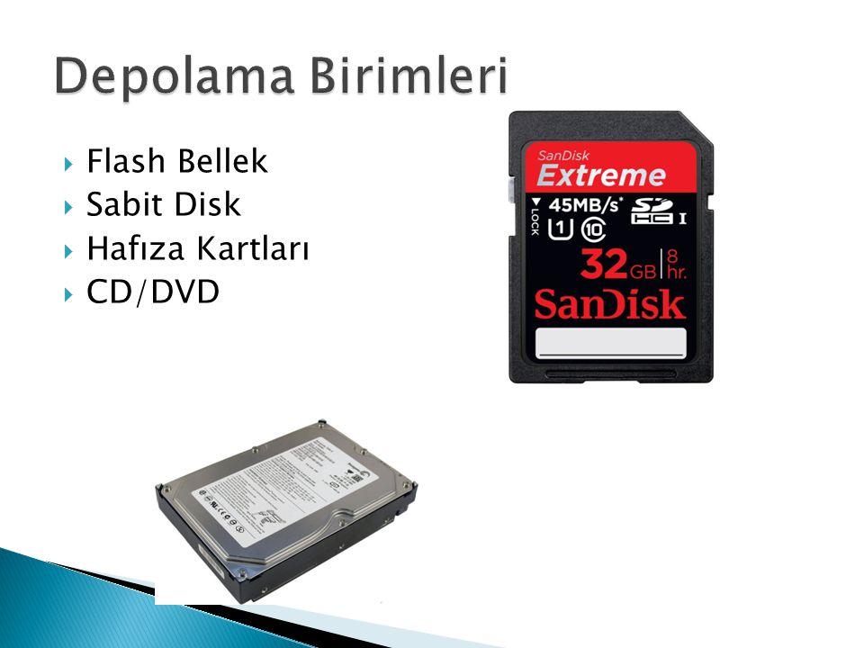  Flash Bellek  Sabit Disk  Hafıza Kartları  CD/DVD