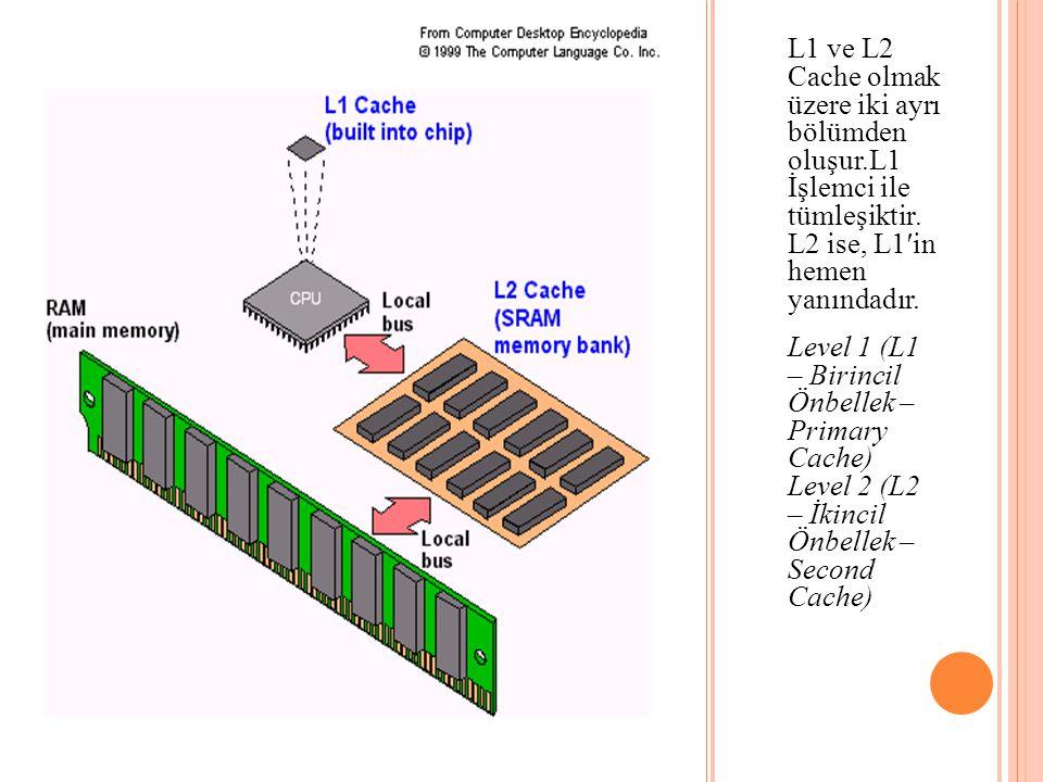 L1 ve L2 Cache olmak üzere iki ayrı bölümden oluşur.L1 İşlemci ile tümleşiktir. L2 ise, L1′in hemen yanındadır. Level 1 (L1 – Birincil Önbellek – Prim