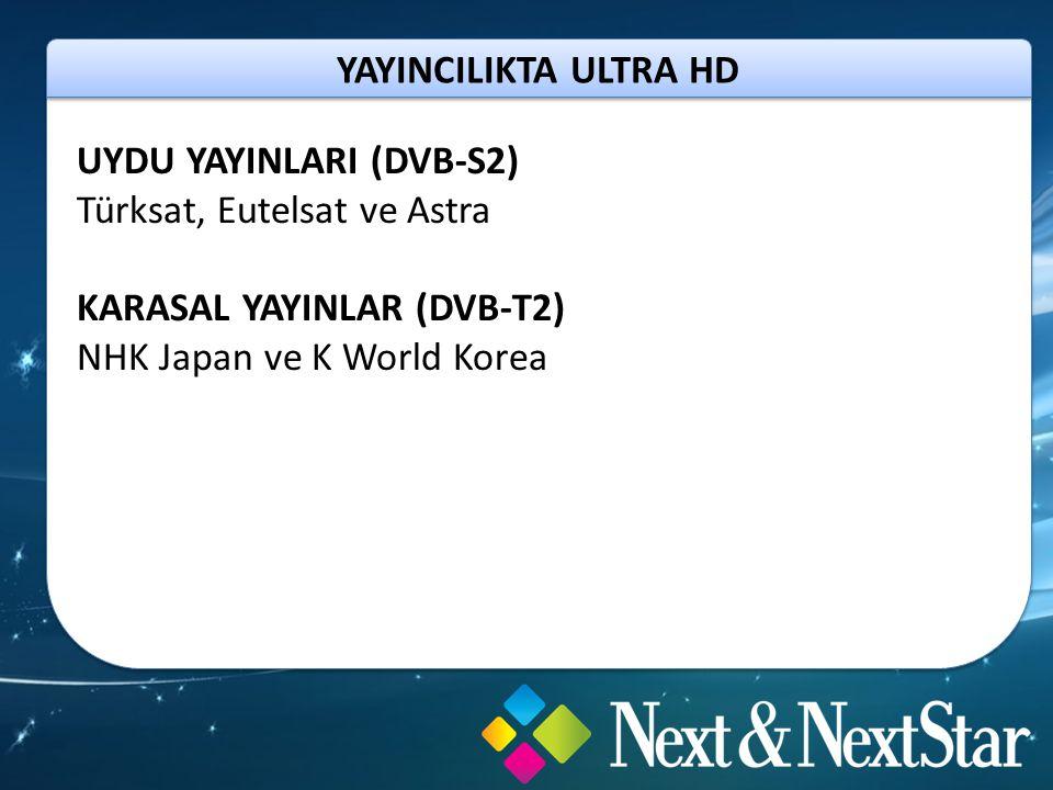 YAYINCILIKTA ULTRA HD UYDU YAYINLARI (DVB-S2) Türksat, Eutelsat ve Astra KARASAL YAYINLAR (DVB-T2) NHK Japan ve K World Korea