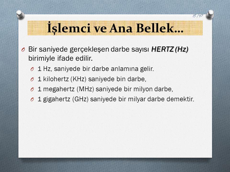 İşlemci ve Ana Bellek… HERTZ (Hz) O Bir saniyede gerçekleşen darbe sayısı HERTZ (Hz) birimiyle ifade edilir. O 1 Hz, saniyede bir darbe anlamına gelir