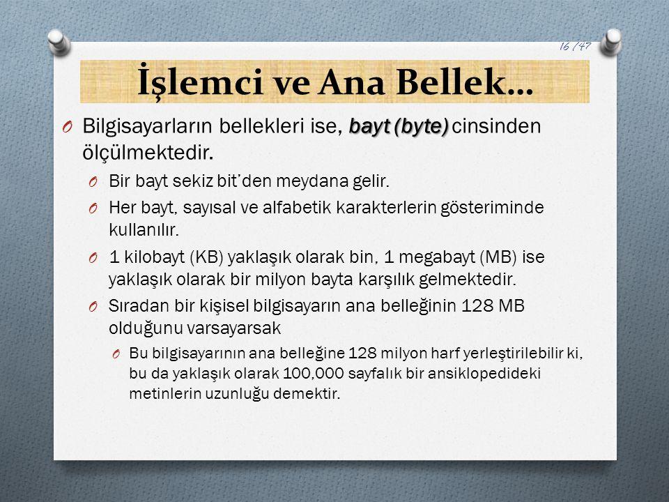 İşlemci ve Ana Bellek… bayt (byte) O Bilgisayarların bellekleri ise, bayt (byte) cinsinden ölçülmektedir. O Bir bayt sekiz bit'den meydana gelir. O He