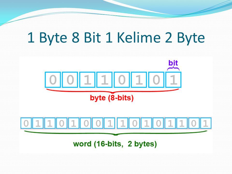 1 Byte 8 Bit 1 Kelime 2 Byte