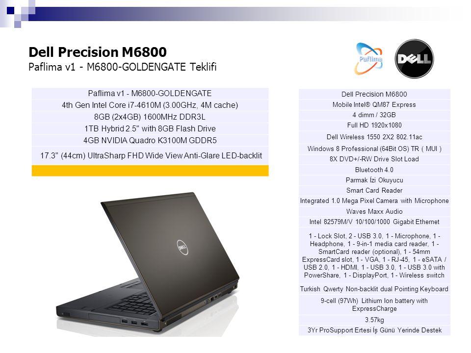 Dell Precision M6800 Paflima v2 - M6800-BOGAZICI Teklifi Dell Precision M6800 Mobile Intel® QM87 Express 4 dimm / 32GB Full HD 1920x1080 Dell Wireless 1550 2X2 802.11ac Windows 8 Professional (64Bit OS) TR ( MUI ) 8X DVD+/-RW Drive Slot Load Bluetooth 4.0 Parmak İzi Okuyucu Smart Card Reader Integrated 1.0 Mega Pixel Camera with Microphone Waves Maxx Audio Intel 82579M/V 10/100/1000 Gigabit Ethernet 1 - Lock Slot, 2 - USB 3.0, 1 - Microphone, 1 - Headphone, 1 - 9-in-1 media card reader, 1 - SmartCard reader (optional), 1 - 54mm ExpressCard slot, 1 - VGA, 1 - RJ-45, 1 - eSATA / USB 2.0, 1 - HDMI, 1 - USB 3.0, 1 - USB 3.0 with PowerShare, 1 - DisplayPort, 1 - Wireless switch Turkish Qwerty Non-backlit dual Pointing Keyboard 9-cell (97Wh) Lithium Ion battery with ExpressCharge 3.57kg 3Yr ProSupport Ertesi İş Günü Yerinde Destek Paflima v2 - M6800-BOGAZICI 4th Gen Intel Core i7-4810MQ (2.80GHz, 6M cache) 8GB (2x4GB) 1600MHz DDR3L 2 x 1TB Hybrid 2.5 with 8GB Flash Drive 4GB NVIDIA Quadro K3100M GDDR5 17.3 (44cm) UltraSharp FHD Wide View Anti-Glare LED-backlit