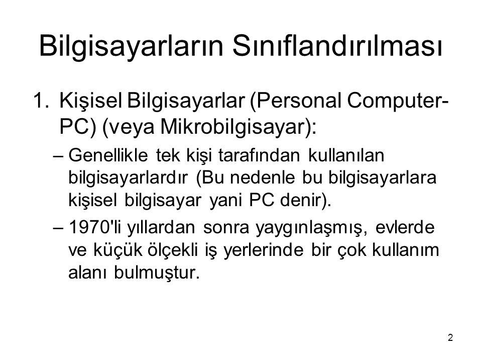 2 Bilgisayarların Sınıflandırılması 1.Kişisel Bilgisayarlar (Personal Computer- PC) (veya Mikrobilgisayar): –Genellikle tek kişi tarafından kullanılan