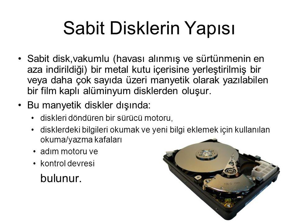 Sabit Disklerin Yapısı Sabit disk,vakumlu (havası alınmış ve sürtünmenin en aza indirildiği) bir metal kutu içerisine yerleştirilmiş bir veya daha çok