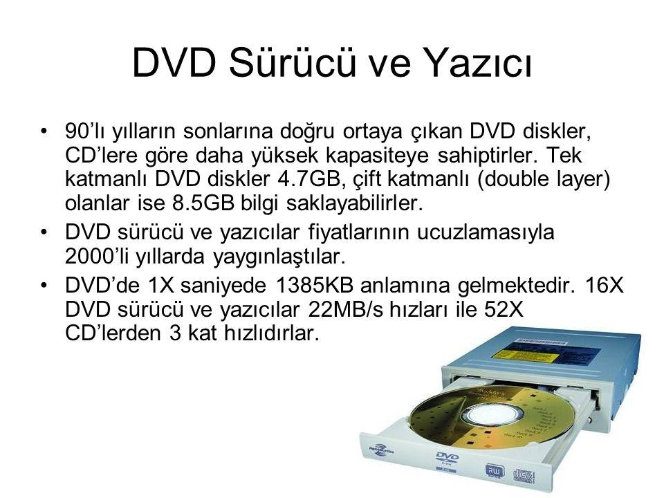 DVD Sürücü ve Yazıcı 90'lı yılların sonlarına doğru ortaya çıkan DVD diskler, CD'lere göre daha yüksek kapasiteye sahiptirler. Tek katmanlı DVD diskle