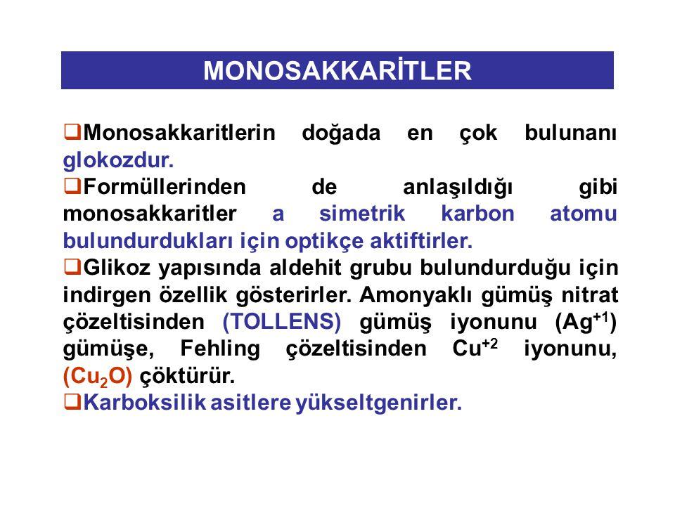  Monosakkaritlerin doğada en çok bulunanı glokozdur.  Formüllerinden de anlaşıldığı gibi monosakkaritler a simetrik karbon atomu bulundurdukları içi