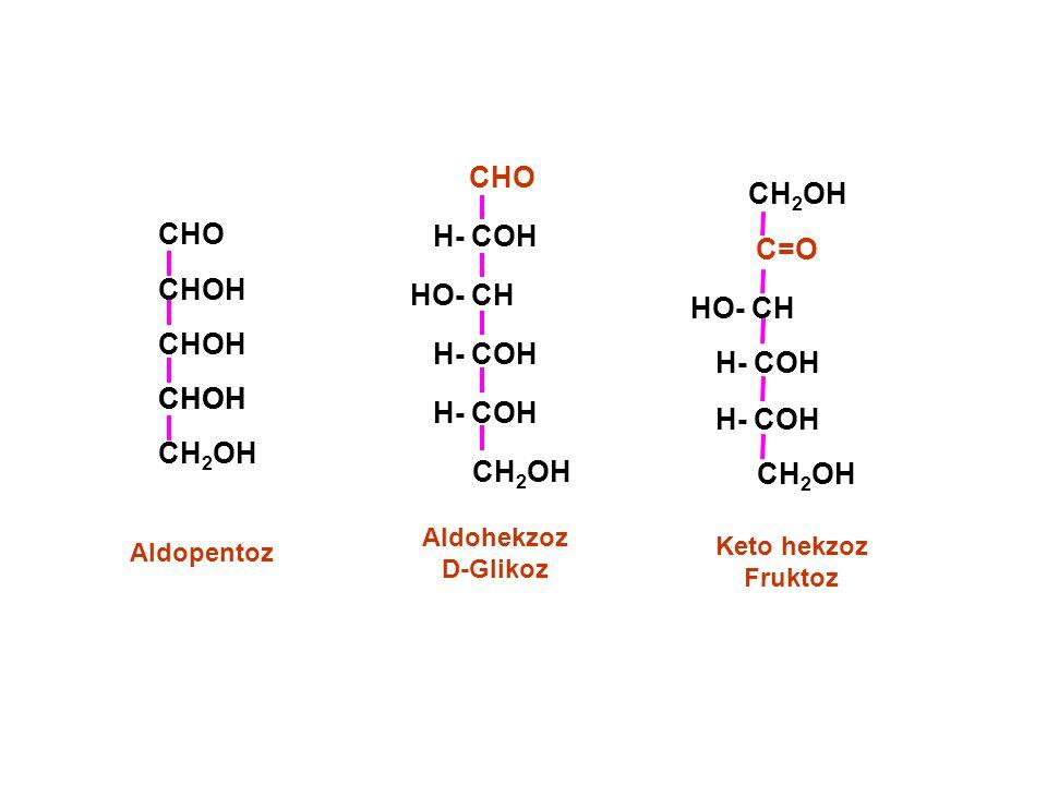 Aldohekzoz D-Glikoz CHO HO- CH CH 2 OH H- COH CH 2 OH HO- CH CH 2 OH C=O H- COH Keto hekzoz Fruktoz Aldopentoz CHO CHOH CH 2 OH CHOH