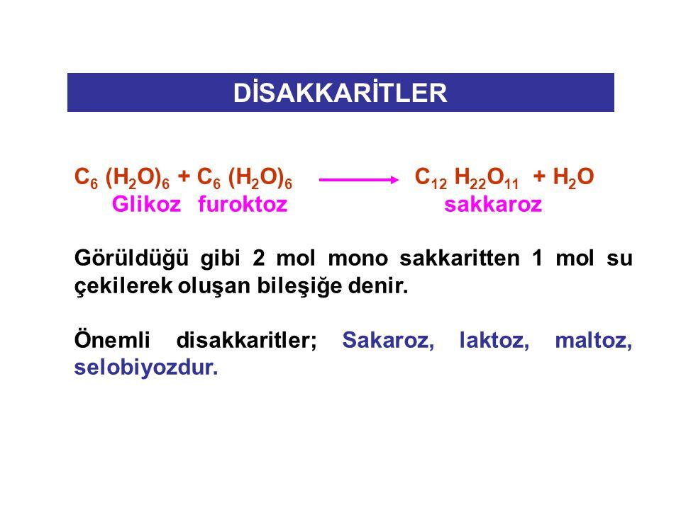 DİSAKKARİTLER C 6 (H 2 O) 6 + C 6 (H 2 O) 6 C 12 H 22 O 11 + H 2 O Glikoz furoktoz sakkaroz Görüldüğü gibi 2 mol mono sakkaritten 1 mol su çekilerek o