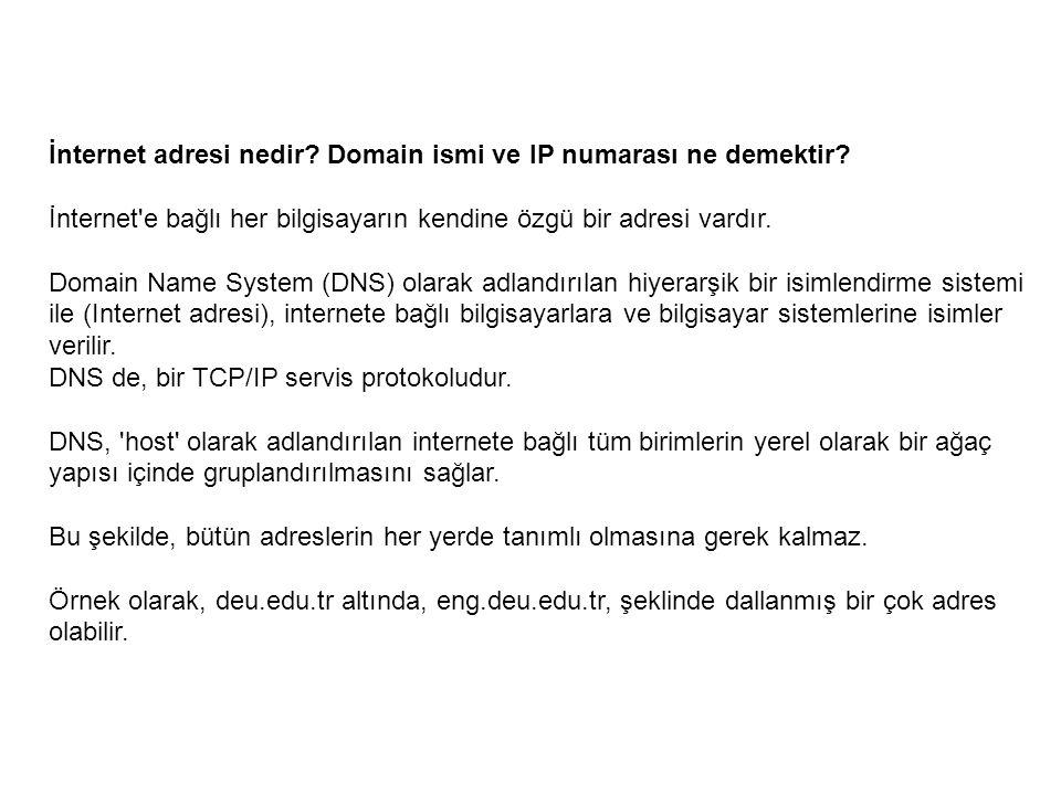 İnternet adresi nedir? Domain ismi ve IP numarası ne demektir? İnternet'e bağlı her bilgisayarın kendine özgü bir adresi vardır. Domain Name System (D