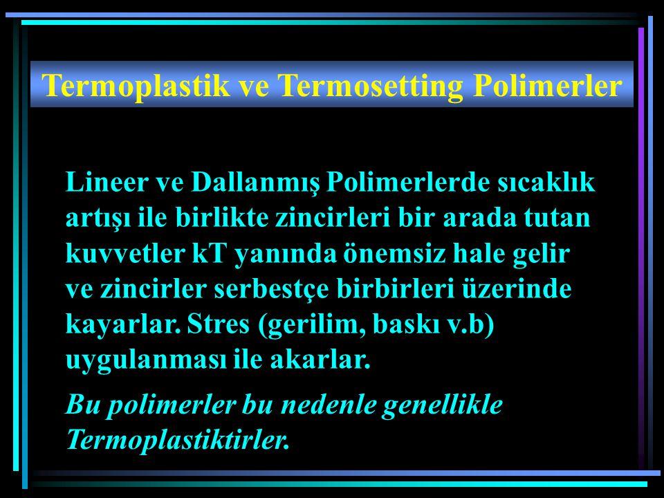 Termoplastik ve Termosetting Polimerler Lineer ve Dallanmış Polimerlerde sıcaklık artışı ile birlikte zincirleri bir arada tutan kuvvetler kT yanında