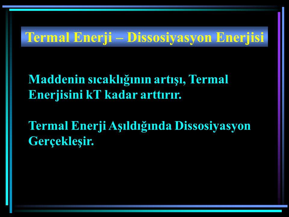Termal Enerji – Dissosiyasyon Enerjisi Maddenin sıcaklığının artışı, Termal Enerjisini kT kadar arttırır. Termal Enerji Aşıldığında Dissosiyasyon Gerç
