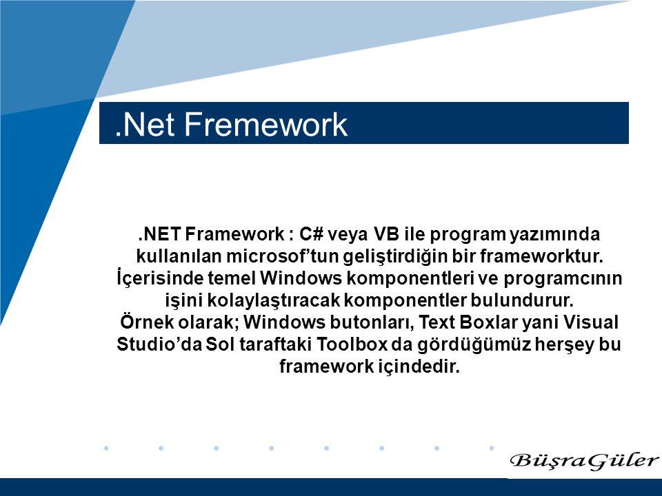 www.company.com.Net Fremework.NET Framework : C# veya VB ile program yazımında kullanılan microsof'tun geliştirdiğin bir frameworktur. İçerisinde teme