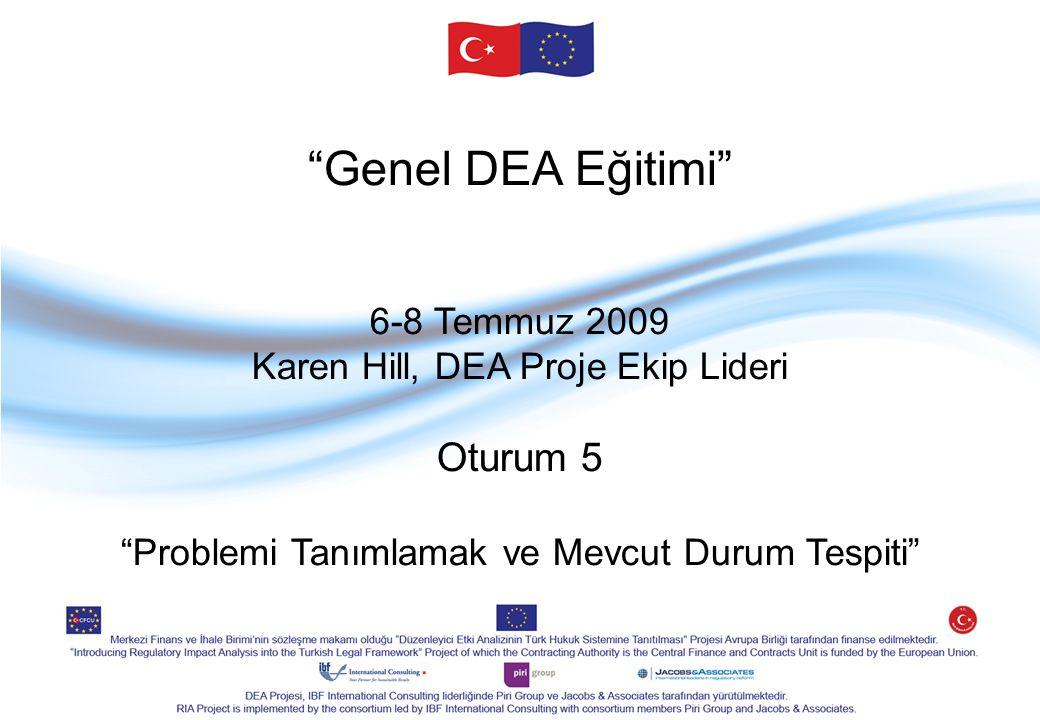 Genel DEA Eğitimi 6-8 Temmuz 2009 Karen Hill, DEA Proje Ekip Lideri Oturum 5 Problemi Tanımlamak ve Mevcut Durum Tespiti