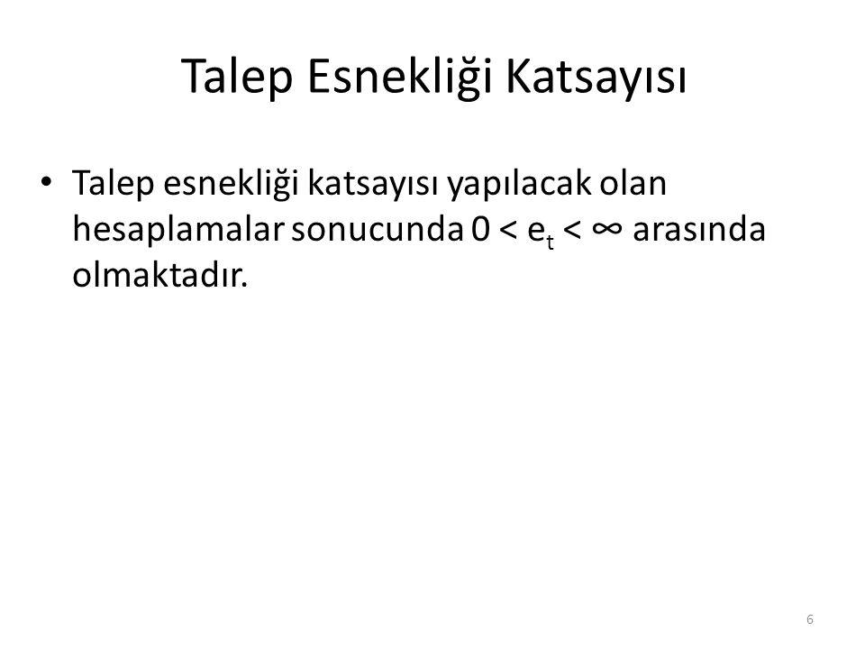 Talep Esnekliği Katsayısı Talep esnekliği katsayısı yapılacak olan hesaplamalar sonucunda 0 < e t < ∞ arasında olmaktadır.