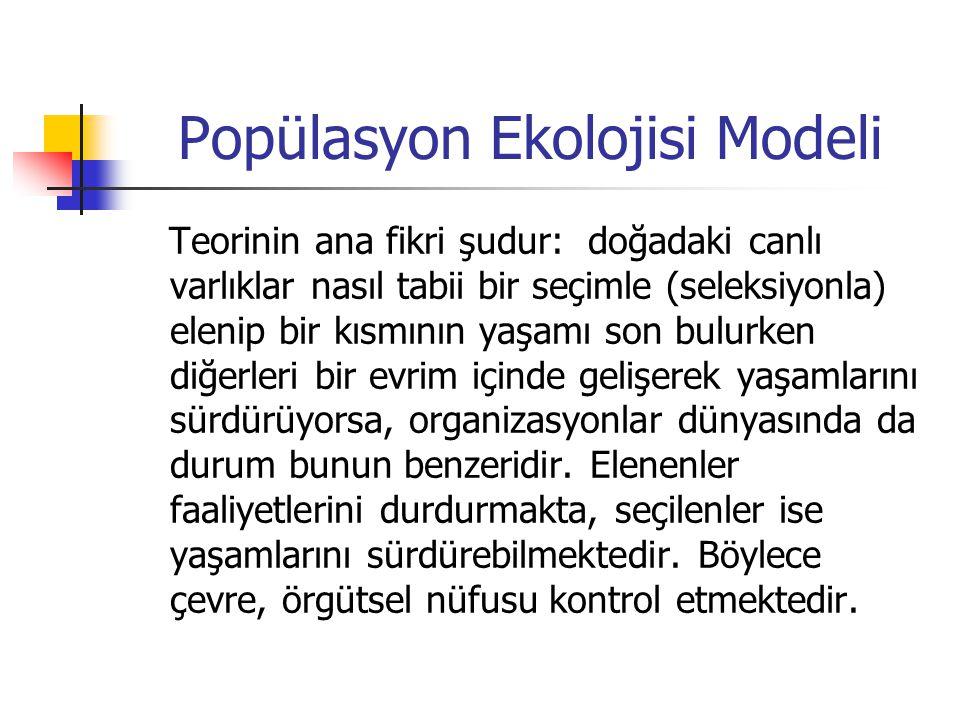 Popülasyon Ekolojisi Modeli Teorinin ana fikri şudur: doğadaki canlı varlıklar nasıl tabii bir seçimle (seleksiyonla) elenip bir kısmının yaşamı son b