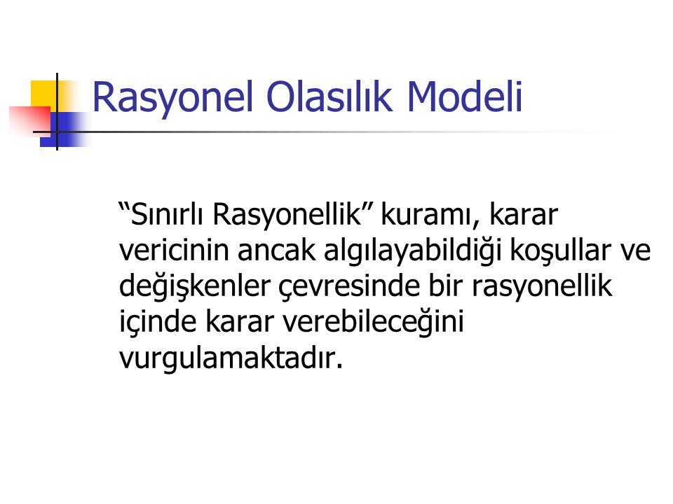 """Rasyonel Olasılık Modeli """"Sınırlı Rasyonellik"""" kuramı, karar vericinin ancak algılayabildiği koşullar ve değişkenler çevresinde bir rasyonellik içinde"""
