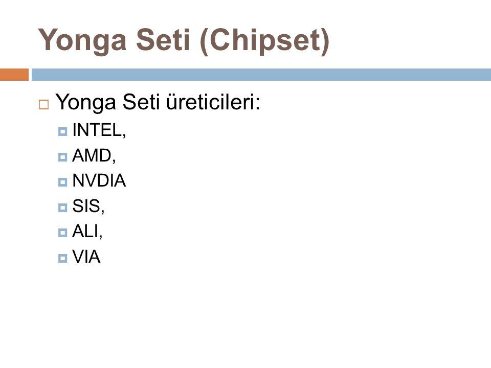  Yonga Seti üreticileri:  INTEL,  AMD,  NVDIA  SIS,  ALI,  VIA Yonga Seti (Chipset)