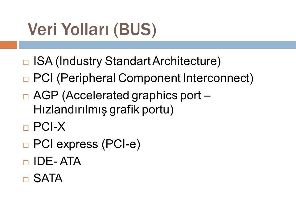  ISA (Industry Standart Architecture)  PCI (Peripheral Component Interconnect)  AGP (Accelerated graphics port – Hızlandırılmış grafik portu)  PCI
