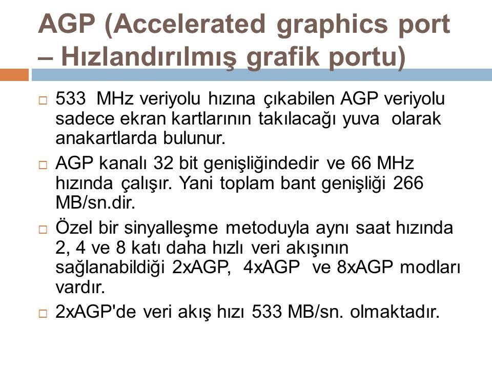 AGP (Accelerated graphics port – Hızlandırılmış grafik portu)  533 MHz veriyolu hızına çıkabilen AGP veriyolu sadece ekran kartlarının takılacağı yuv