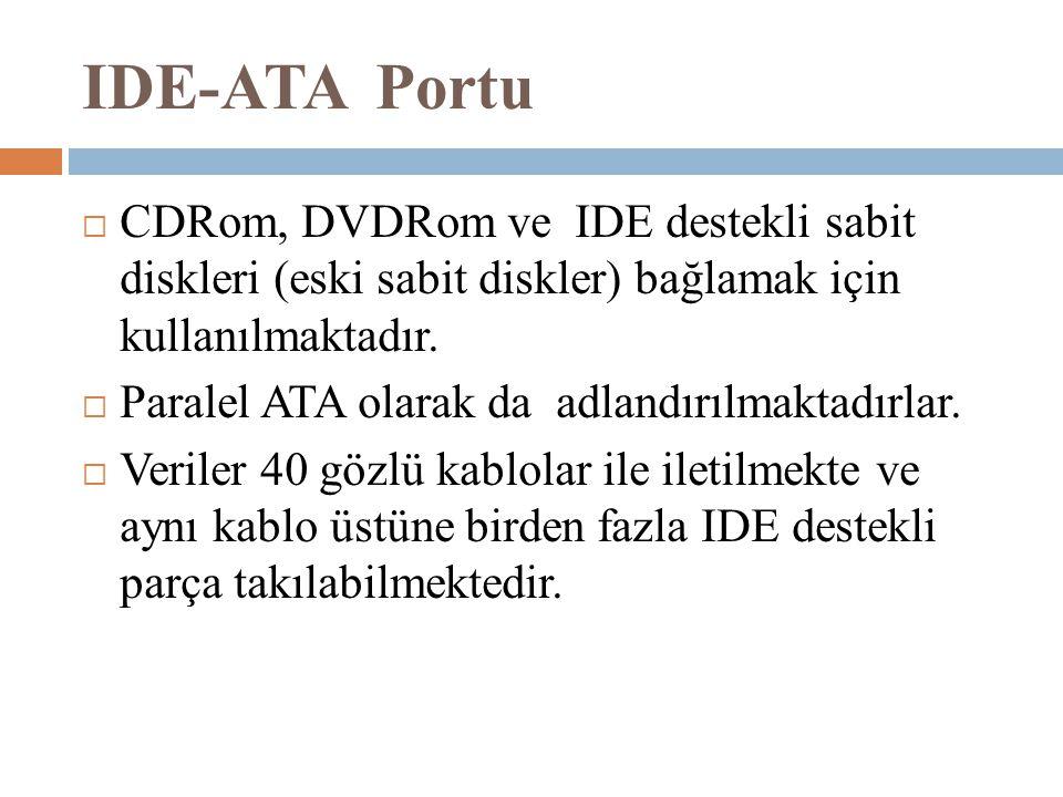 IDE-ATA Portu  CDRom, DVDRom ve IDE destekli sabit diskleri (eski sabit diskler) bağlamak için kullanılmaktadır.  Paralel ATA olarak da adlandırılma