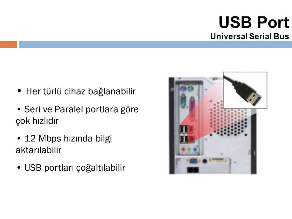 37 USB Port Universal Serial Bus Her türlü cihaz bağlanabilir Seri ve Paralel portlara göre çok hızlıdır 12 Mbps hızında bilgi aktarılabilir USB portl
