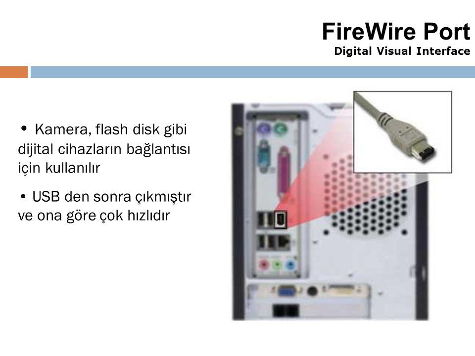 41 FireWire Port Digital Visual Interface Kamera, flash disk gibi dijital cihazların bağlantısı için kullanılır USB den sonra çıkmıştır ve ona göre ço