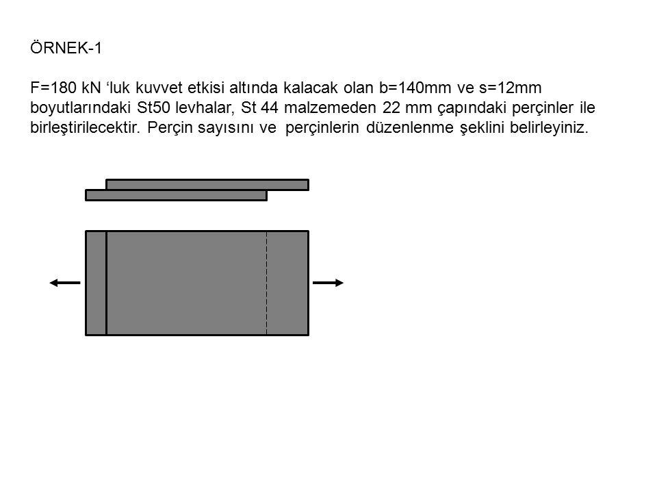 ÖRNEK-1 F=180 kN 'luk kuvvet etkisi altında kalacak olan b=140mm ve s=12mm boyutlarındaki St50 levhalar, St 44 malzemeden 22 mm çapındaki perçinler il