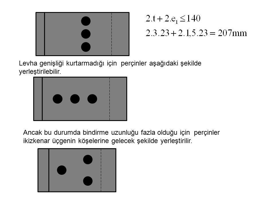 Levha genişliği kurtarmadığı için perçinler aşağıdaki şekilde yerleştirilebilir. Ancak bu durumda bindirme uzunluğu fazla olduğu için perçinler ikizke