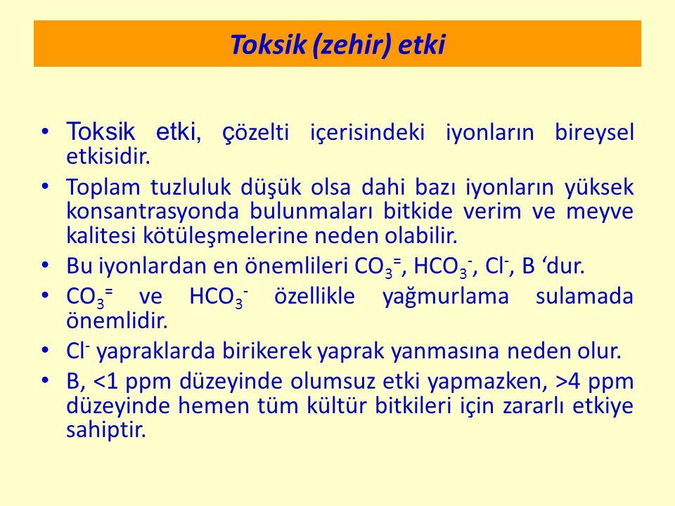 Toksik (zehir) etki Toksik etki, ç özelti içerisindeki iyonların bireysel etkisidir. Toplam tuzluluk düşük olsa dahi bazı iyonların yüksek konsantrasy