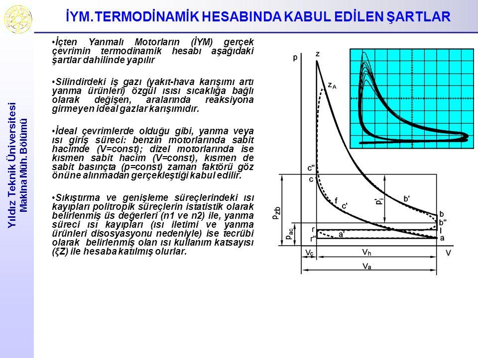 İYM.TERMODİNAMİK HESABINDA KABUL EDİLEN ŞARTLAR Yıldız Teknik Üniversitesi Makina Müh. Bölümü İçten Yanmalı Motorların (İYM) gerçek çevrimin termodina