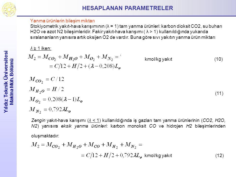 HESAPLANAN PARAMETRELER Yıldız Teknik Üniversitesi Makina Müh. Bölümü Yanma ürünlerin bileşim miktarı Stokiyometrik yakıt-hava karışımının (λ = 1) tam