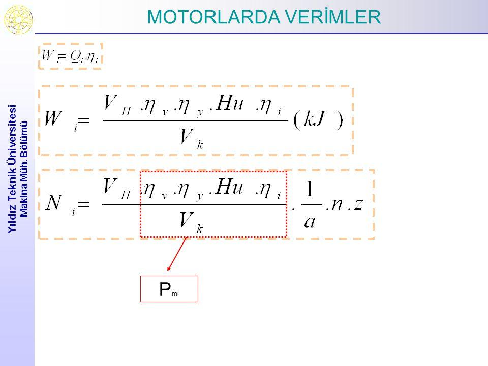 MOTORLARDA VERİMLER Yıldız Teknik Üniversitesi Makina Müh. Bölümü P mi