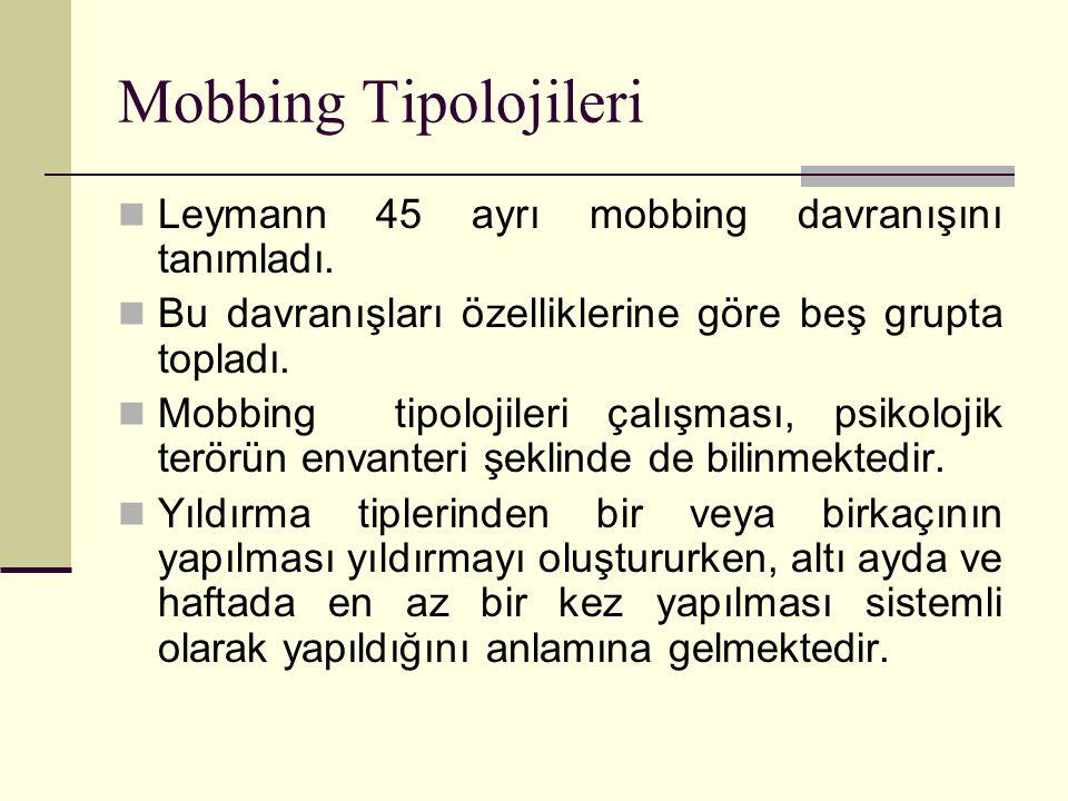 Mobbing Tipolojileri Leymann 45 ayrı mobbing davranışını tanımladı. Bu davranışları özelliklerine göre beş grupta topladı. Mobbing tipolojileri çalışm