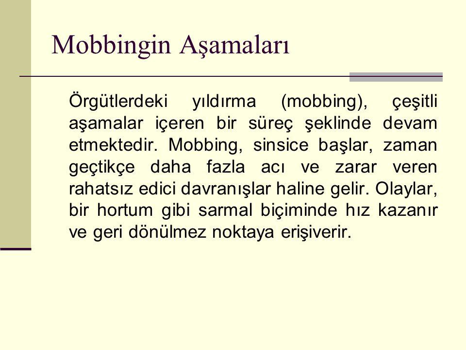 Mobbingin Aşamaları Örgütlerdeki yıldırma (mobbing), çeşitli aşamalar içeren bir süreç şeklinde devam etmektedir. Mobbing, sinsice başlar, zaman geçti