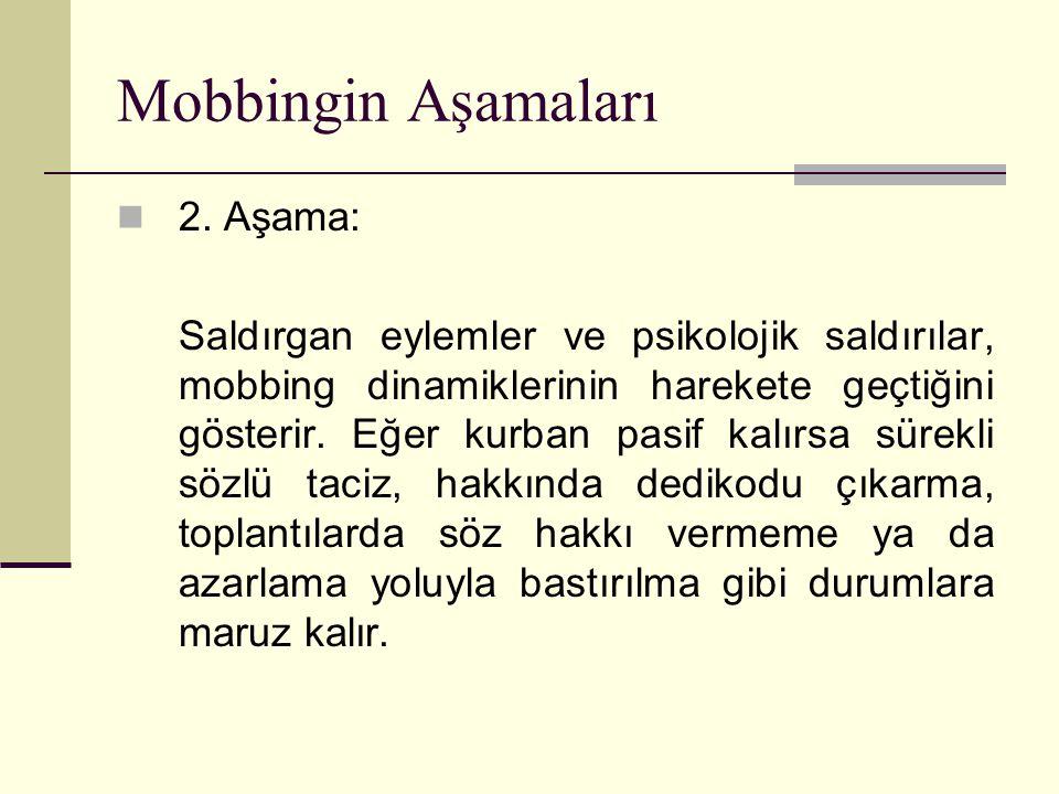 Mobbingin Aşamaları 2. Aşama: Saldırgan eylemler ve psikolojik saldırılar, mobbing dinamiklerinin harekete geçtiğini gösterir. Eğer kurban pasif kalır