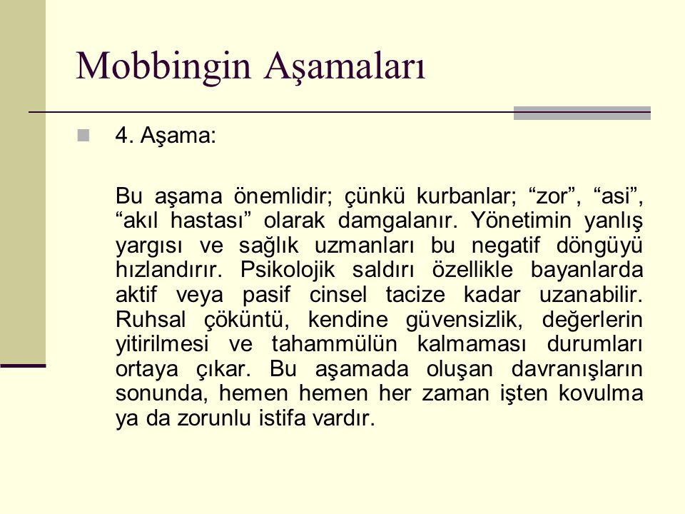 """Mobbingin Aşamaları 4. Aşama: Bu aşama önemlidir; çünkü kurbanlar; """"zor"""", """"asi"""", """"akıl hastası"""" olarak damgalanır. Yönetimin yanlış yargısı ve sağlık"""