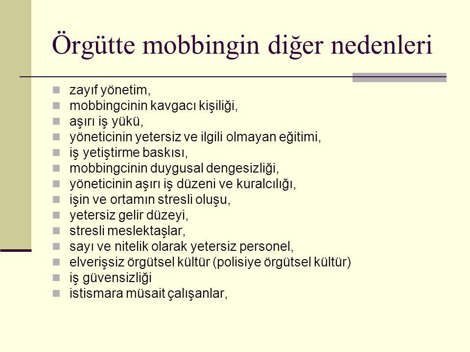 Örgütte mobbingin diğer nedenleri zayıf yönetim, mobbingcinin kavgacı kişiliği, aşırı iş yükü, yöneticinin yetersiz ve ilgili olmayan eğitimi, iş yeti
