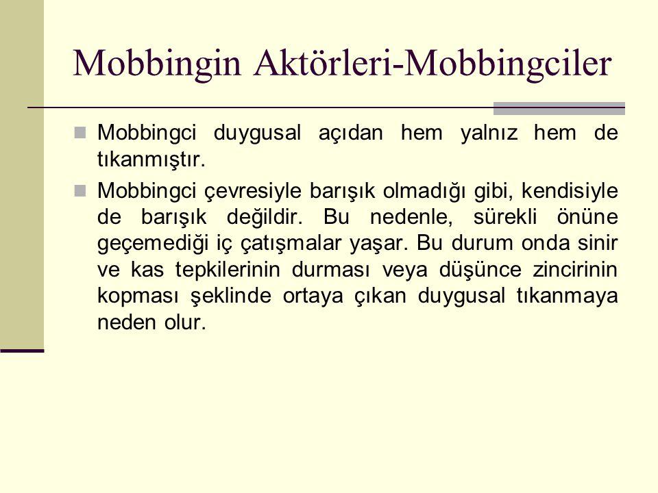 Mobbingci duygusal açıdan hem yalnız hem de tıkanmıştır. Mobbingci çevresiyle barışık olmadığı gibi, kendisiyle de barışık değildir. Bu nedenle, sürek
