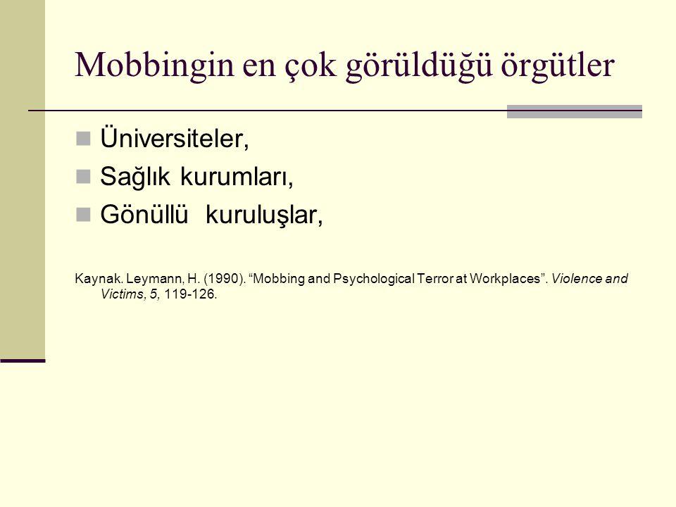"""Mobbingin en çok görüldüğü örgütler Üniversiteler, Sağlık kurumları, Gönüllü kuruluşlar, Kaynak. Leymann, H. (1990). """"Mobbing and Psychological Terror"""