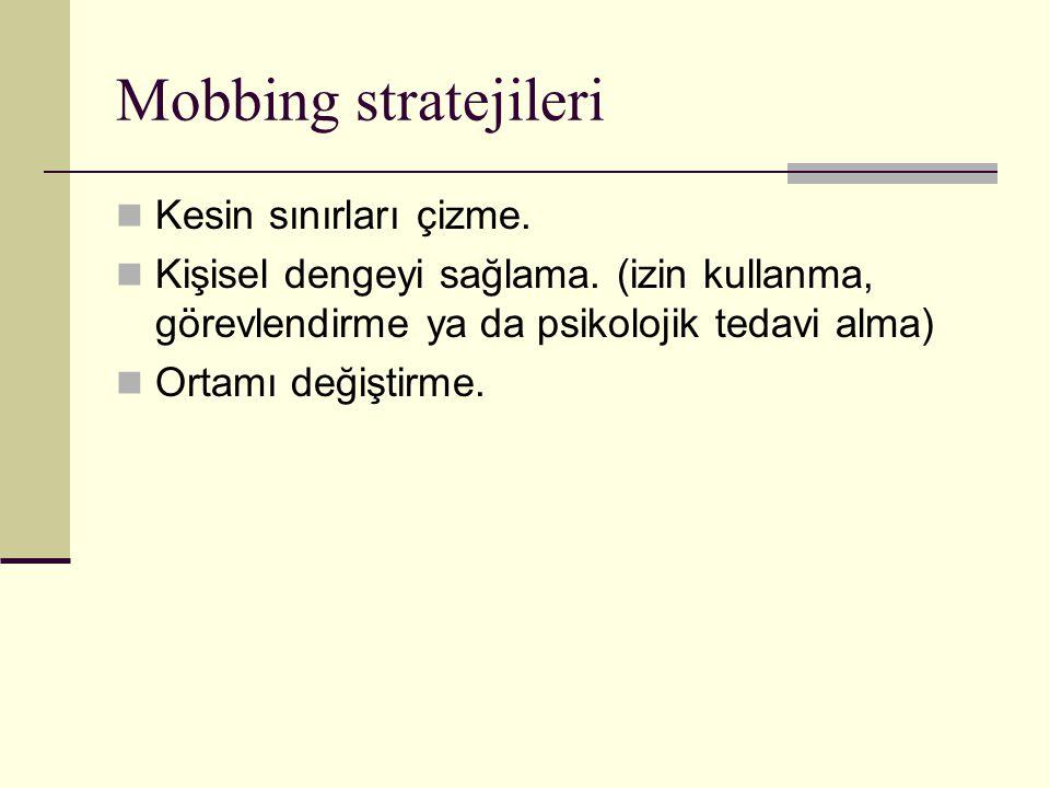 Mobbing stratejileri Kesin sınırları çizme. Kişisel dengeyi sağlama. (izin kullanma, görevlendirme ya da psikolojik tedavi alma) Ortamı değiştirme.