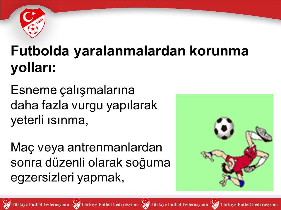 Futbolda yaralanmalardan korunma yolları: Maç veya antrenmanlardan sonra düzenli olarak soğuma egzersizleri yapmak, Esneme çalışmalarına daha fazla vu