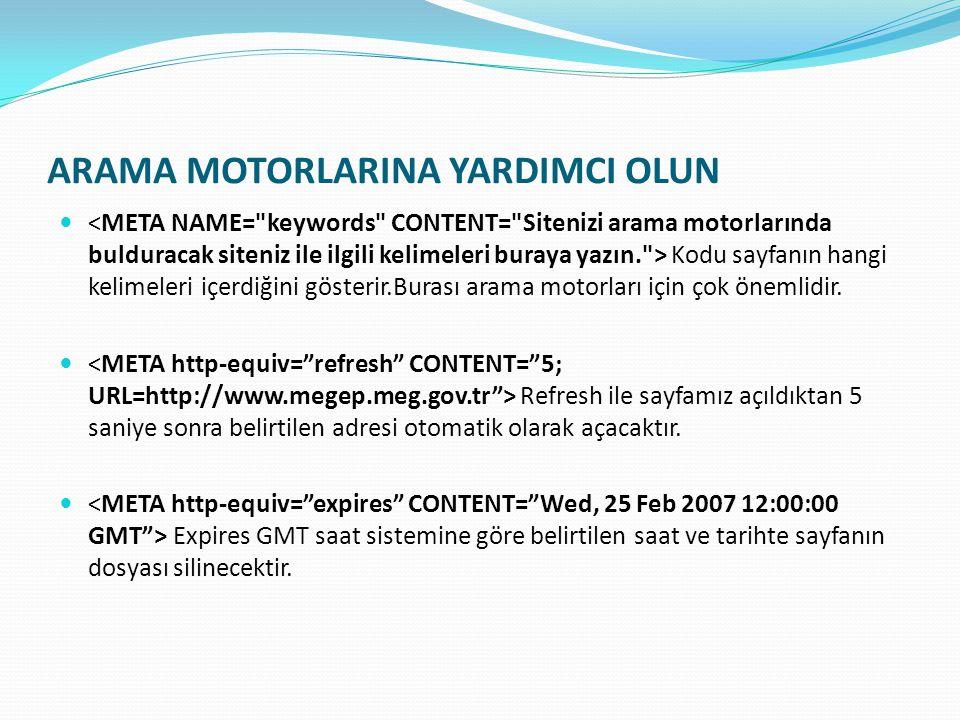 ARAMA MOTORLARINA YARDIMCI OLUN Kodu sayfanın hangi kelimeleri içerdiğini gösterir.Burası arama motorları için çok önemlidir.