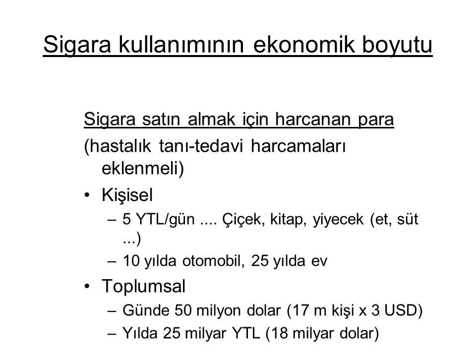 Sigara kullanımının ekonomik boyutu Sigara satın almak için harcanan para (hastalık tanı-tedavi harcamaları eklenmeli) Kişisel –5 YTL/gün.... Çiçek, k